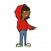 retro comic book style cartoon pointing teenager