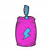retro comic book style cartoon spray can