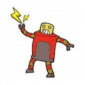 retro comic book style cartoon robot