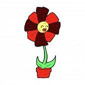 retro comic book style cartoon flower