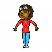 retro comic book style cartoon woman wearing goggles