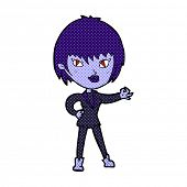 retro comic book style cartoon vampire girl