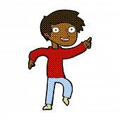 retro comic book style cartoon happy boy pointing
