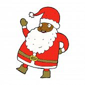funny waving santa claus retro comic book style cartoon