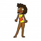 retro comic book style cartoon woman in swimming costume