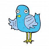 retro comic book style cartoon bird waving wing