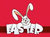 Cute bunny with stylish text Easter on pink background for Happy Easter Celebrations.