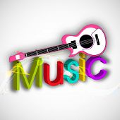Stylish colorful text of Music with Guitar on shiny grey background.