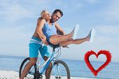 Happy man giving girlfriend a lift on his crossbar against red smoke heart