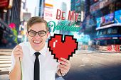 Romantic geeky hipster against blurry new york street