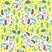 Fruit Abstract Retro Seamless Pattern And Seamless Pattern In Swatch Menu, Vector Illustrartion