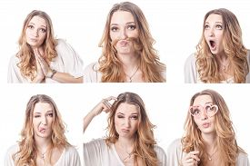 pic of emoticon  - Collage of woman different facial expressions emotions and emoticons - JPG