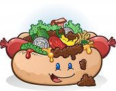 foto of wiener dog  - A delicious smiling hot dog character topped with chili - JPG