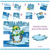 picture of child missing  - Find missing piece for Children with funny penguin on ice background  - JPG