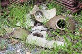 pic of cultural artifacts  - broken clay pot in Thailand on the floor - JPG