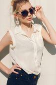 picture of shot glasses  - Stylish beautiful woman - JPG