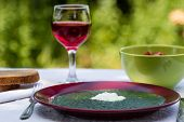 stock photo of marsala  - spinach in marsala color plate with tomatoes brown bread and wine - JPG
