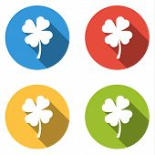 pic of four  - Set of 4 isolated flat colorful buttons  - JPG