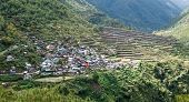 picture of luzon  - Panoramic Scenic of Bayyo Rice Terraces and Mountainside Village on Island of Luzon in Philippines  - JPG