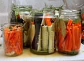 stock photo of pickled vegetables  - sliced vegetables ready for pickling in the jar - JPG