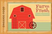 foto of red barn  - Farm Organic Food Poster on Wooden Background - JPG