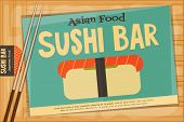 picture of sushi  - Sushi Poster on Wooden Background - JPG
