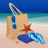 image of thong  - The illustration of beautiful realistic beach bag with thongs towel and googles on a seashore - JPG