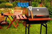 stock photo of lunch  - Outdoor Summer Weekend BBQ Grill Party Or Family Lunch Or Cookot Food Or Picnic Concept - JPG