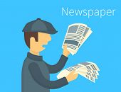 stock photo of newsboy  - Newsboy is selling a daily newspaper - JPG