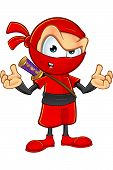 picture of ninja  - An illustration of a sneaky cartoon Ninja character dressed in red - JPG