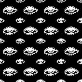 pic of hamsa  - abstract black seamless pattern with white eye - JPG