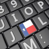 image of texans  - Texas flag over key on keyboard 3d render square image - JPG