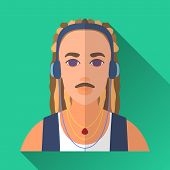 image of dreadlock  - Green flat style square shaped male character icon with shadow - JPG