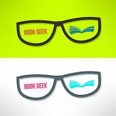 picture of geek  - Vector book geek idea with glasses and book - JPG