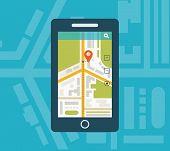 stock photo of gps  - Mobile gps navigation on mobile phone with map - JPG