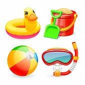 foto of children beach  - Colorful Beach Toys Icons Set for Your Sea and Child Projects - JPG