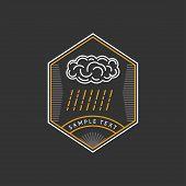 foto of rain cloud  - Line Art Logo Template with Cloud and Rain - JPG