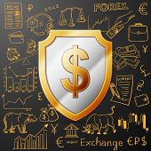 pic of nyse  - shield with dollar sign and exchange doodle icon - JPG