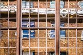 pic of distort  - Distorted reflection in the windows of an office building - JPG