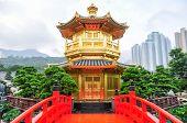 foto of hong kong bridge  - The Golden pavilion and red bridge in the Nan Lian Garden near the Chi Lin Nunnery a famous landmark in Hong Kong - JPG