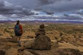 picture of colorado high country  - Woman Hiker Backpacker on Neon Canyon Beginning of the trail - JPG