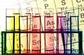 image of tubes  - Colorful Chemical Reagents in Test Tubes and Periodic Table - JPG