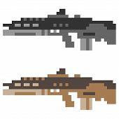 pic of rifle  - illustration vector isolate icon pixel art gun assault rifle - JPG