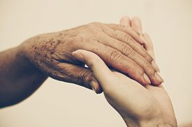 picture of empathy  - Young female hands touching old female hand  - JPG