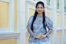 foto of national costume  - Thailand National Costume Asian woman wearing thai traditional dress - JPG