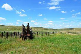 image of western nebraska  - Livestock Loading Chute Ramp on a rural ranch in the prairie grasslands of Nebraska - JPG