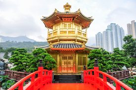 image of hong kong bridge  - The Golden pavilion and red bridge in the Nan Lian Garden near the Chi Lin Nunnery a famous landmark in Hong Kong - JPG