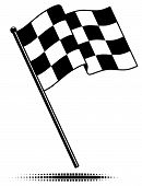 pic of flag pole  - Checkered flag waving above the pole - JPG