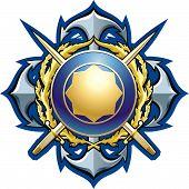 stock photo of armorial-bearings  - NAVY style badge cross daggers - JPG