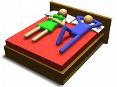 stock photo of coitus  - 3d illustration of a couple having sex on a bed - JPG